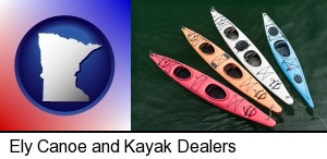 four colorful fiberglass kayaks in Ely, MN