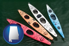 alabama map icon and four colorful fiberglass kayaks
