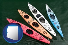 arizona map icon and four colorful fiberglass kayaks