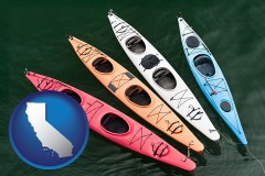 california map icon and four colorful fiberglass kayaks