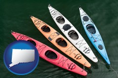 connecticut map icon and four colorful fiberglass kayaks