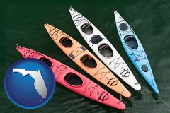 florida map icon and four colorful fiberglass kayaks