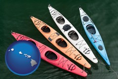 hawaii map icon and four colorful fiberglass kayaks