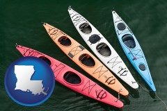 louisiana map icon and four colorful fiberglass kayaks