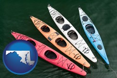 maryland map icon and four colorful fiberglass kayaks