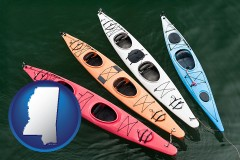 mississippi map icon and four colorful fiberglass kayaks