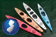 new-jersey map icon and four colorful fiberglass kayaks