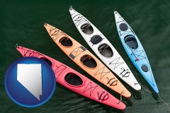 nevada map icon and four colorful fiberglass kayaks