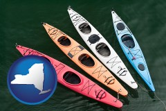 new-york map icon and four colorful fiberglass kayaks