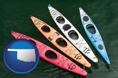 oklahoma map icon and four colorful fiberglass kayaks