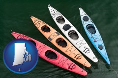 rhode-island map icon and four colorful fiberglass kayaks