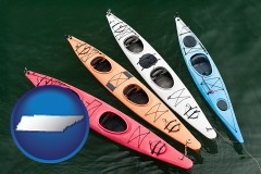 tennessee four colorful fiberglass kayaks