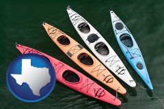 texas map icon and four colorful fiberglass kayaks
