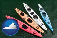 virginia map icon and four colorful fiberglass kayaks