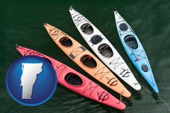 vermont map icon and four colorful fiberglass kayaks