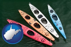 west-virginia map icon and four colorful fiberglass kayaks