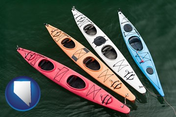 four colorful fiberglass kayaks - with Nevada icon