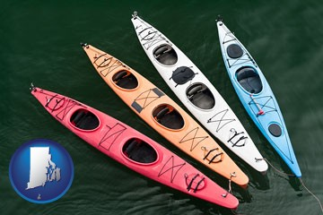 four colorful fiberglass kayaks - with Rhode Island icon