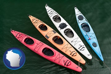 four colorful fiberglass kayaks - with Wisconsin icon